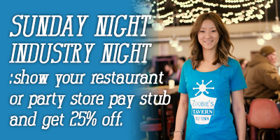 Restaurant workers discount show your restaurant of party store stub and get 25% off